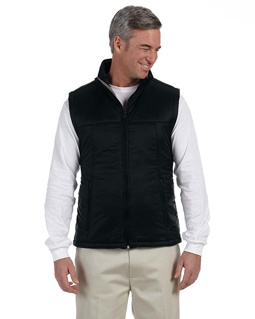 Harriton M795 Men's Essential Polyfill Vest BLACK at bigntallapparel