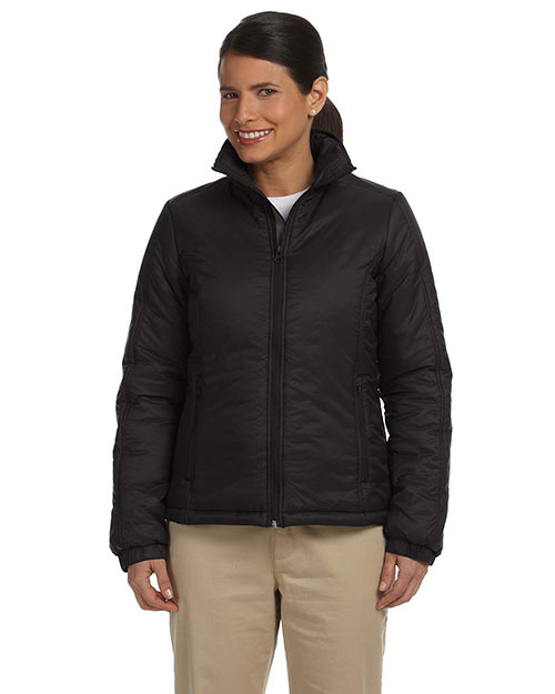 Harriton M797W Ladies' Essential Polyfill Jacket BLACK at bigntallapparel