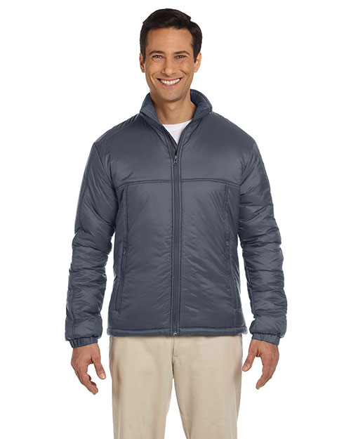 Harriton M797 Men Essential Polyfill Jacket Graphite at bigntallapparel