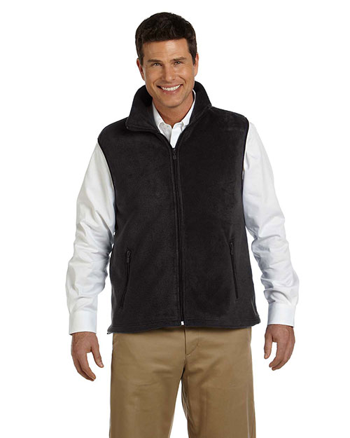 Harriton M985 Mens 8 Oz Fleece Vest Black at bigntallapparel