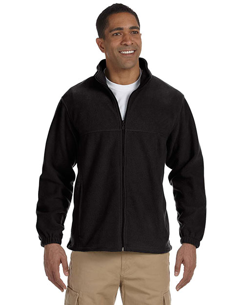 Harriton M990 Men 8 Oz Full Zip Fleece Black at bigntallapparel
