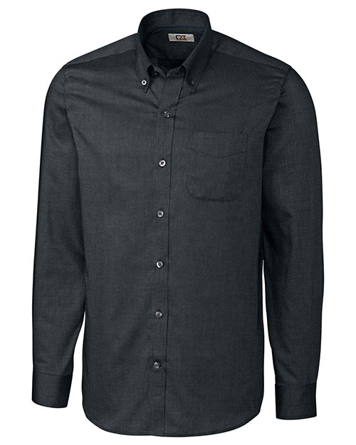 Cutter & Buck MCW09399 Men Long Sleeve Tailored Fit Nailshead Black at bigntallapparel