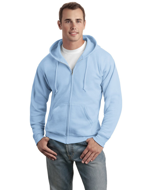 Hanes P180 Mens ComfortBlend Full Zip Hooded SweatShirt Light Blue at bigntallapparel