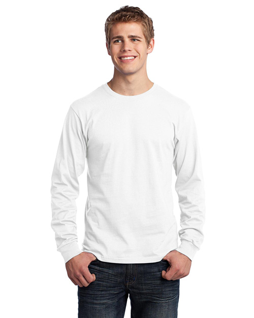 Port & Company PC54LS Long Sleeve 5.4-oz. 100% Cotton T-Shirt.  White at bigntallapparel