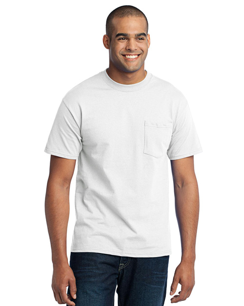 Port & Company PC55P 50/50 Cotton/Poly T-Shirt with Pocket.  White at bigntallapparel