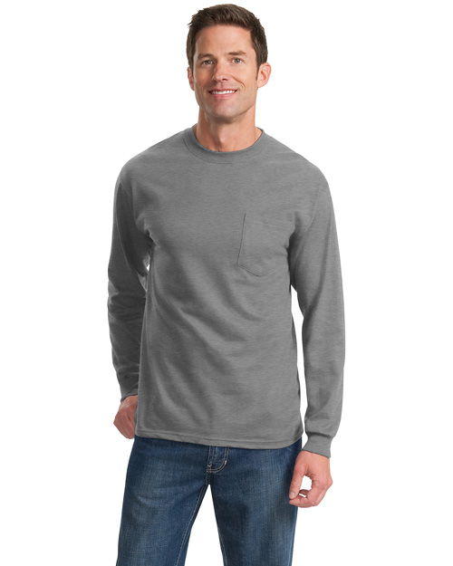 Port & Company PC61LSP Men 100% Cotton Long Sleeve T Shirt With Pocket Athletic Heather at bigntallapparel