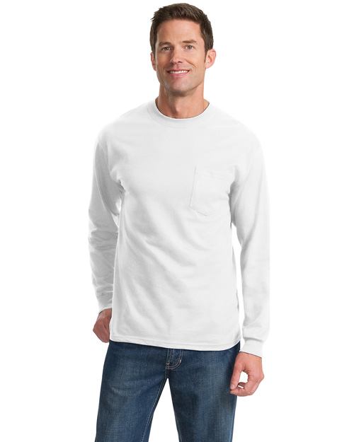 Port & Company PC61LSP Men 100% Cotton Long Sleeve T Shirt With Pocket White at bigntallapparel