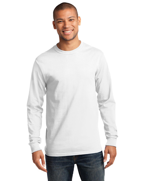 Port & Company PC61LS Men 100% Cotton Essential Long Sleeve T Shirt White at bigntallapparel