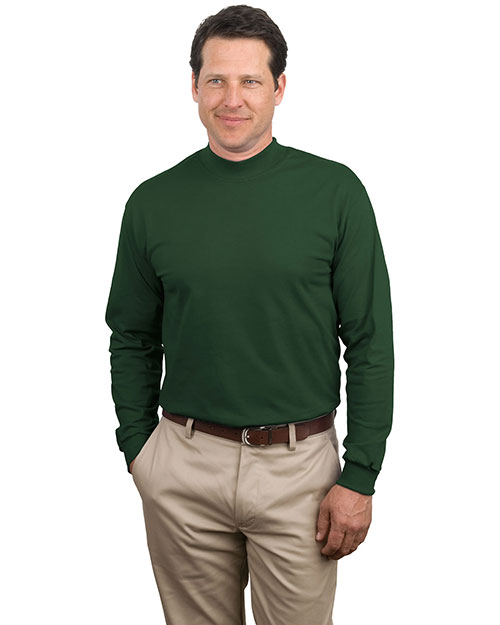 Port & Company PC61M Men Mock Turtleneck Dark Green at bigntallapparel