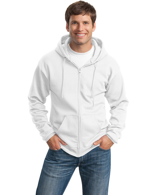 Port & Company PC78ZH Mens 78 Oz Full Zip Hooded SweatShirt White at bigntallapparel