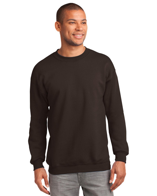 Port & Company PC90T Men Tall Ultimate Crewneck Sweatshirt Dark Chocolate at bigntallapparel