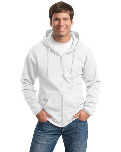 Port & Company PC90ZH Mens Full Zip Hooded SweatShirt White at bigntallapparel