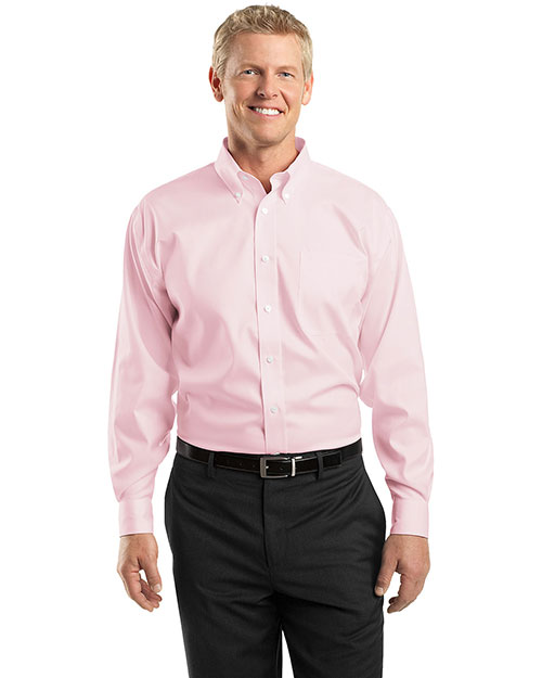 Red House RH24 Mens Pinpoint Oxford Dress Shirt Pink at bigntallapparel