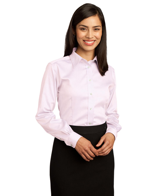 Red House RH25 Ladies Non-Iron Pinpoint Oxford.   Pink at bigntallapparel