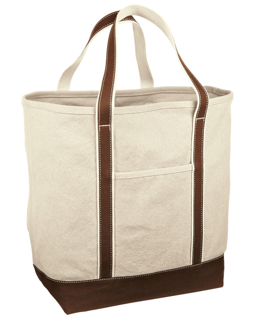 Red House RH34 Medium Heavy Weight Canvas Tote Dark Chocolate Brown/Natural at bigntallapparel