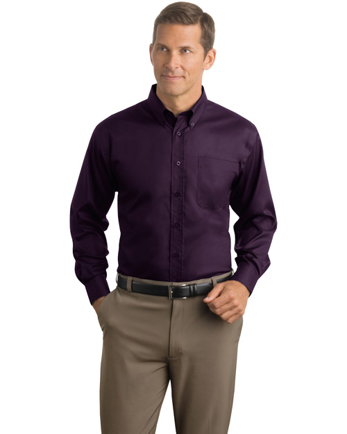 Red House RH38 Men Herringbone Non Iron Button Down Shirt Bermuda Purple at bigntallapparel