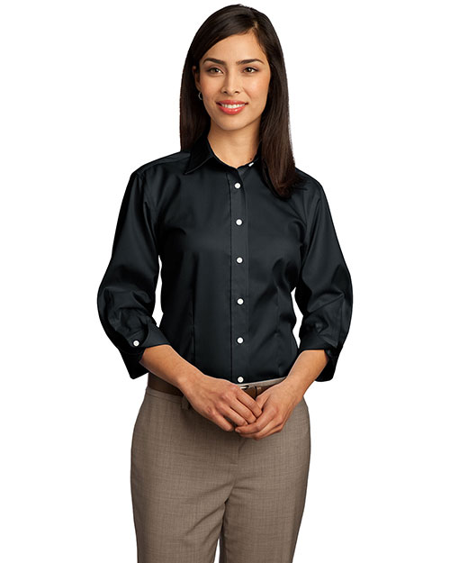 Red House RH61 Ladies 3/4-Sleeve Dobby Non-Iron Button-Down Shirt.  Black at bigntallapparel