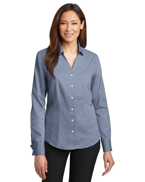 Red House RH63 Ladies French Cuff Non-Iron Pinpoint Oxford.  Blue at bigntallapparel