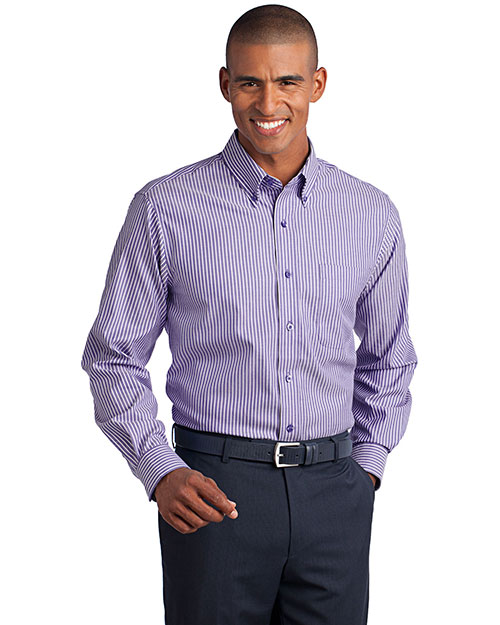Red House RH64 Stripe Non-Iron Pinpoint Oxford.  Purple Dusk at bigntallapparel