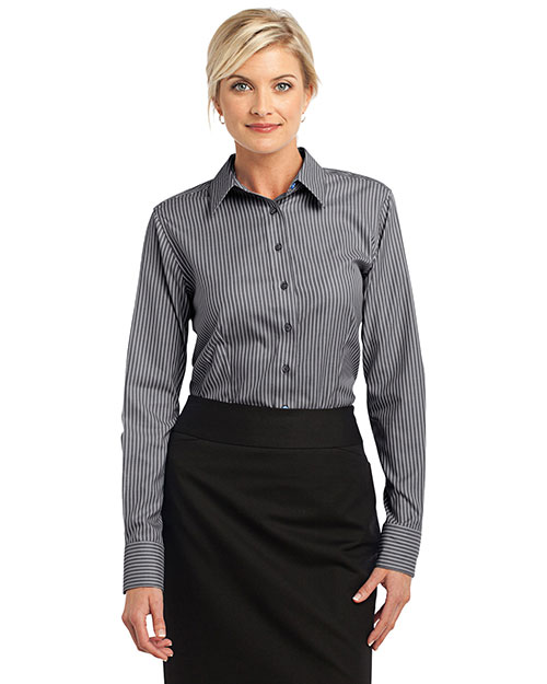 Red House RH65 Women Stripe Non-Iron Pinpoint Oxford Charcoal at bigntallapparel