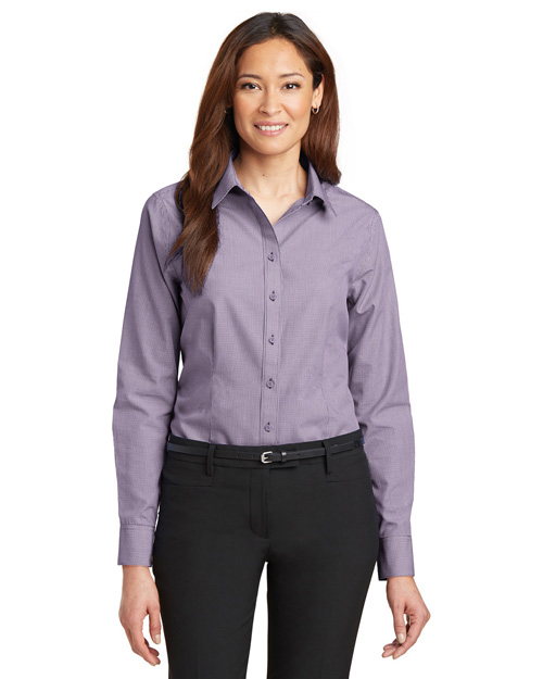 Red House RH67 Ladies Mini-Check Non-Iron Button-Down Shirt.  Bermuda Purple at bigntallapparel