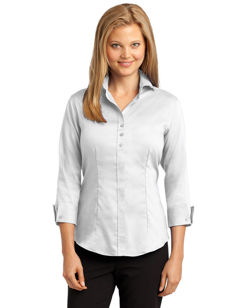 Red House RH69 ® Ladies 3/4-Sleeve Nailhead Non-Iron Button-Down Shirt.  White at bigntallapparel