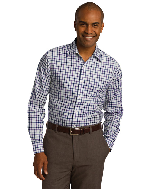 Red House RH74 ® Tricolor Check Slim Fit Non-Iron Shirt.  Navy/Plum at bigntallapparel