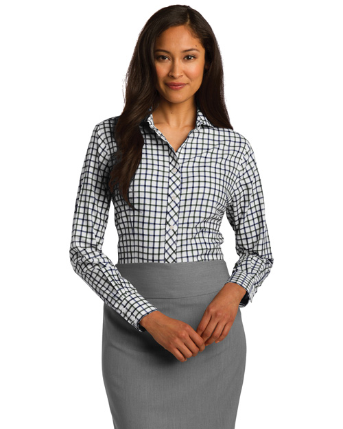Red House RH75 Women Tricolor Check Noniron Shirt Dk Green/Navy at bigntallapparel