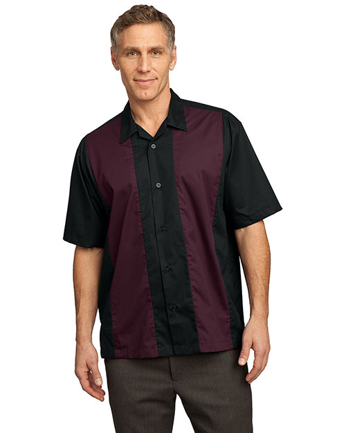 Port Authority S300 Men  Retro Camp Shirt Black/Burgundy at bigntallapparel