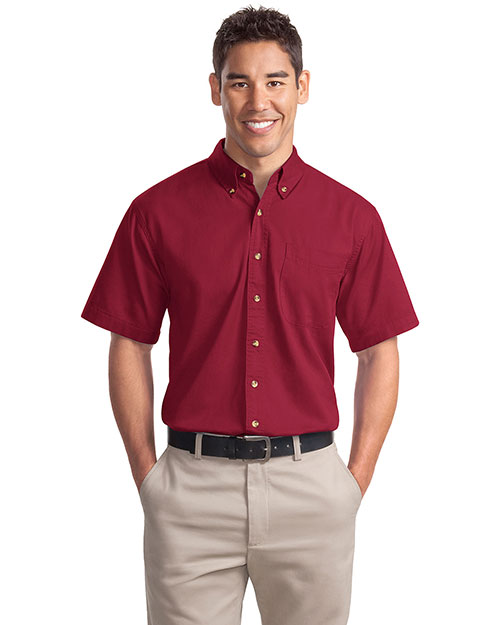 Port Authority S500T Mens Short Sleeve Twill Dress Shirt Bright Burgundy at bigntallapparel