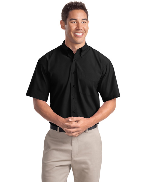Port Authority S507 Mens Short Sleeve Easy Care Soil Resistant Dress Shirt Black at bigntallapparel