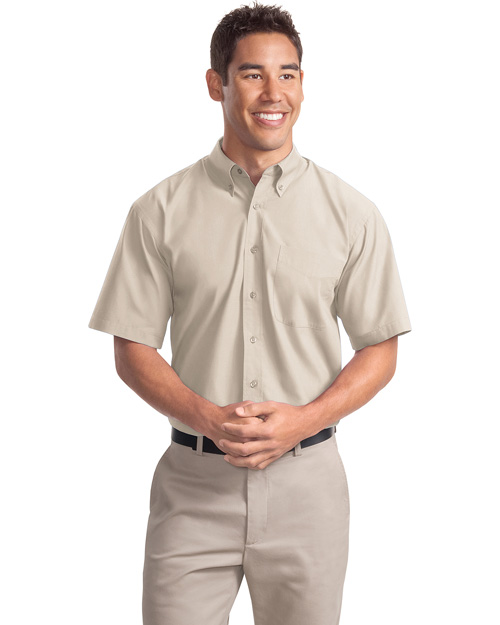 Port Authority S507 Mens Short Sleeve Easy Care Soil Resistant Dress Shirt Light Stone at bigntallapparel