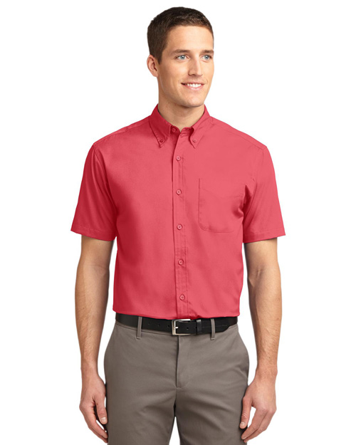 Port Authority S508 Mens Short Sleeve Easy Care Dress Shirt Hibiscus/Hibiscus at bigntallapparel
