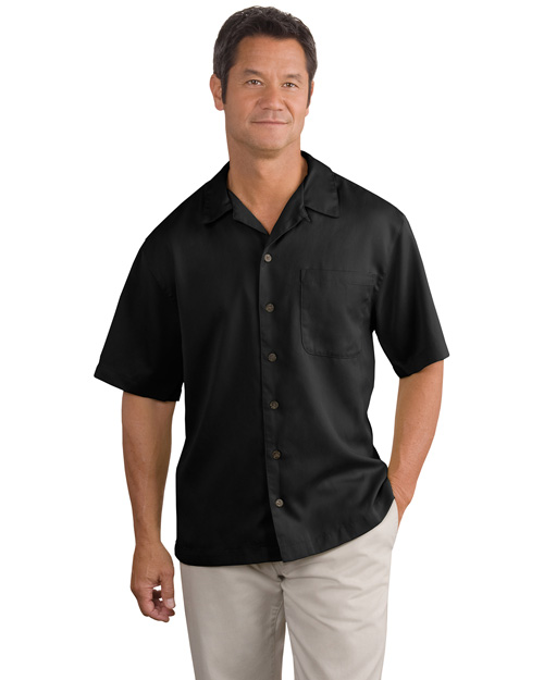Port Authority S535 Mens Easy Care Camp Shirt Black at bigntallapparel