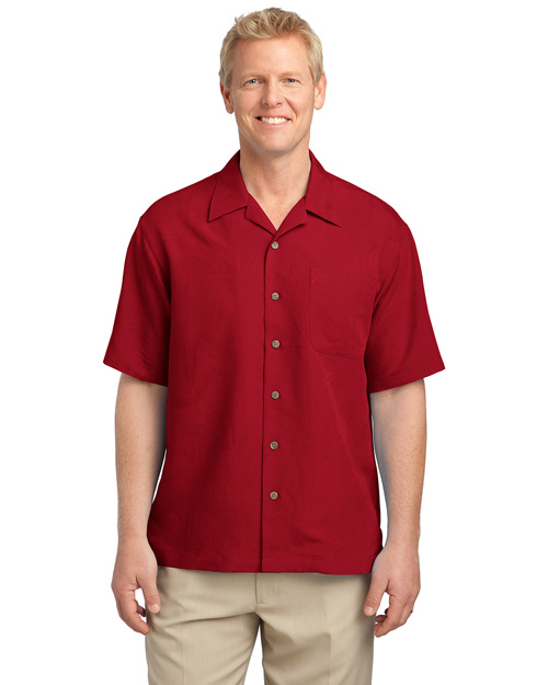 Port Authority S536 Men Patterned Easy Care Camp Shirt Persian Red at bigntallapparel