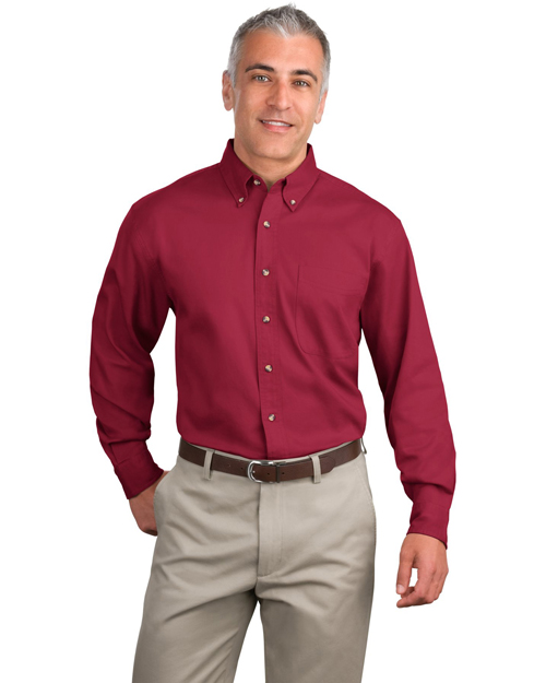 Port Authority S600T Mens Long Sleeve Twill Dress Shirt Bright Burgundy at bigntallapparel