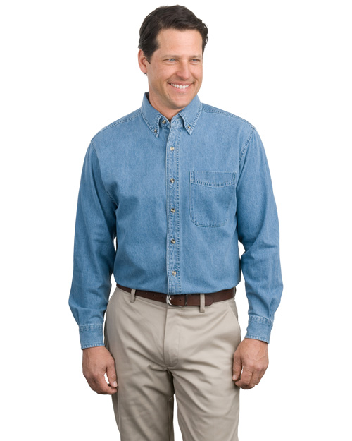 Port Authority S600 Mens Long Sleeve Denim Shirt Faded Denim at bigntallapparel