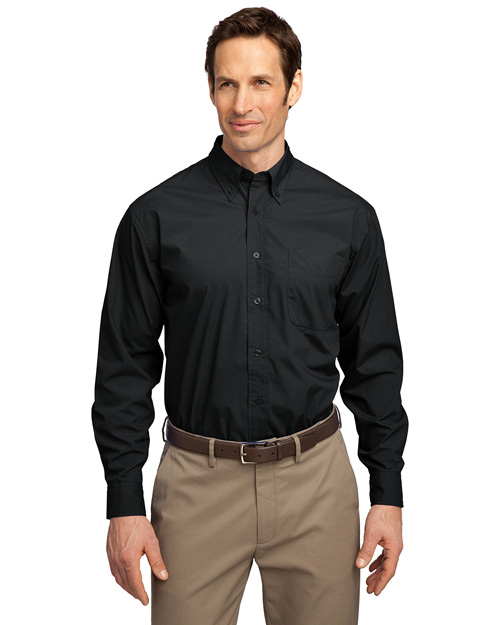 Port Authority S607 Mens Long Sleeve Easy Care Soil Resistant Dress Shirt Black at bigntallapparel