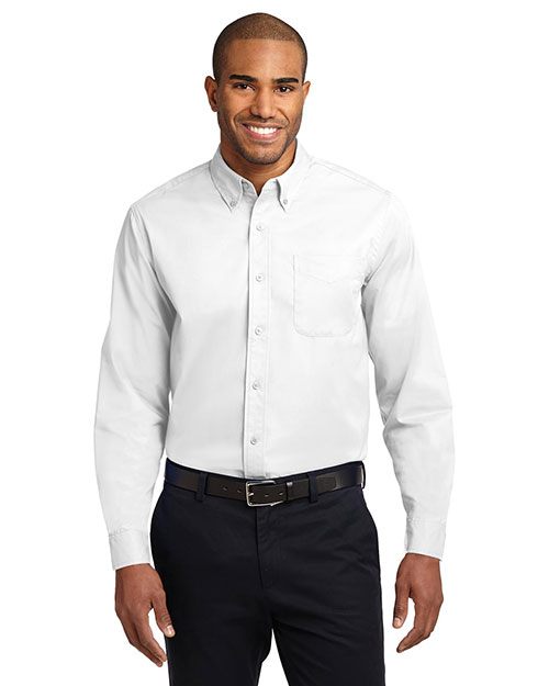 Port Authority S608ES Men  Extended Sized Long Sleeve Easy Care Dress Shirt White/ Light Stone at bigntallapparel