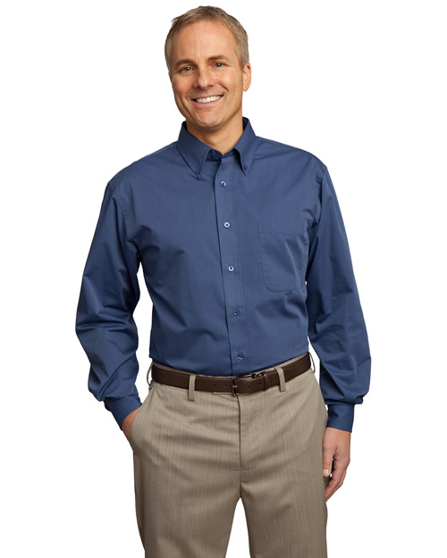 Port Authority TLS613 ® Tall Tonal Pattern Easy Care Shirt.  Blue at bigntallapparel