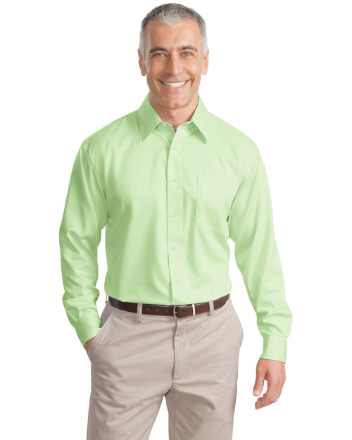 Port Authority S638 Mens Long Sleeve Non Iron Twill Shirt Green Mist at bigntallapparel