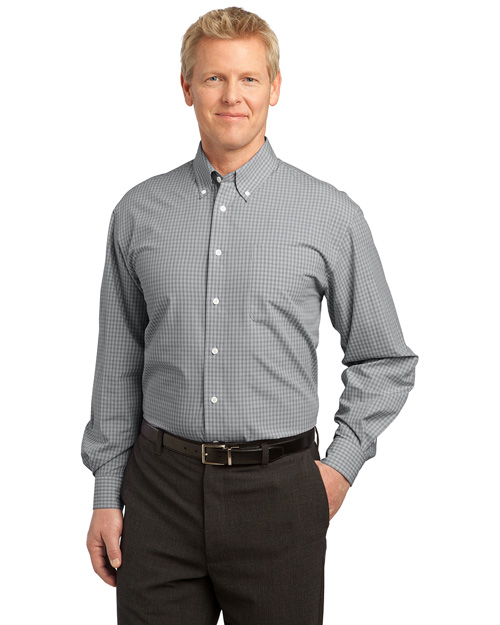 Port Authority S639 Plaid Pattern Easy Care Shirt.  Charcoal at bigntallapparel