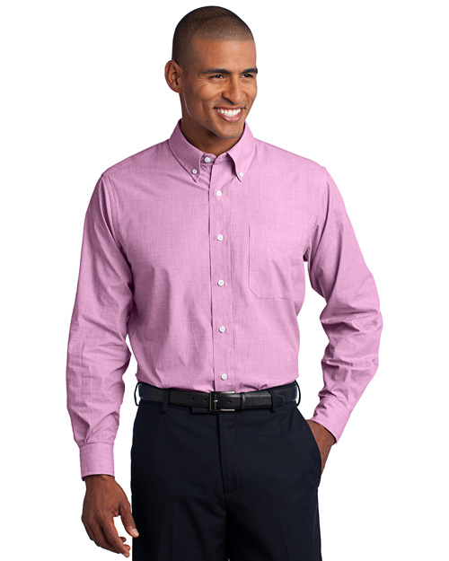 Port Authority S640 Crosshatch Easy Care Shirt.  Pink Orchid at bigntallapparel