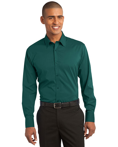 Port Authority S646 Men Stretch Poplin Shirt Dark Teal at bigntallapparel