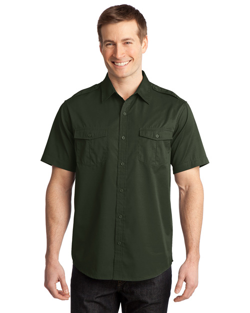 Port Authority S648 Men Stainresistant Short Sleeve Twill Shirt Basil Green at bigntallapparel
