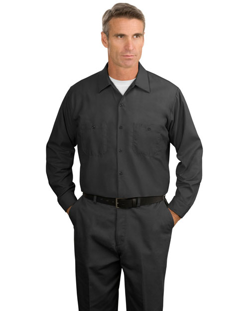 CornerStone SP14 Mens Long Sleeve Industrial Work Shirt Charcoal at bigntallapparel