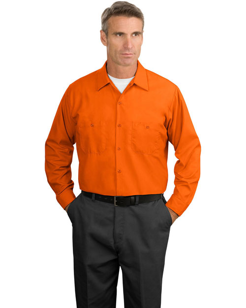 Cornerstone SP14 Men  Long Sleeve Industrial Work Shirt Orange at bigntallapparel