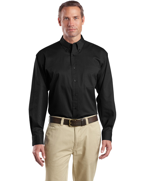 CornerStone SP17 Mens Long Sleeve Super Pro Twill Shirt Black at bigntallapparel