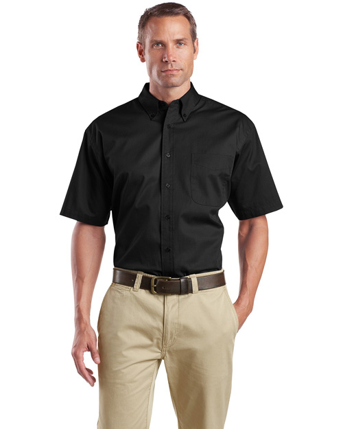 CornerStone SP18 Mens Short Sleeve Super Pro Twill Shirt Black at bigntallapparel