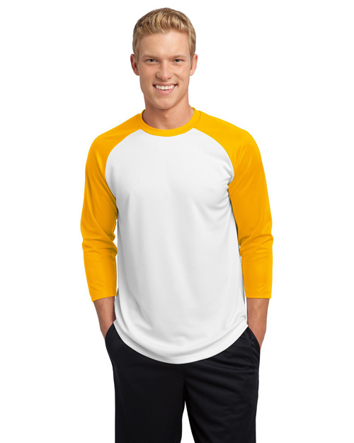 Sport-Tek ST205 PosiCharge™ Baseball Jersey.  White/Gold at bigntallapparel